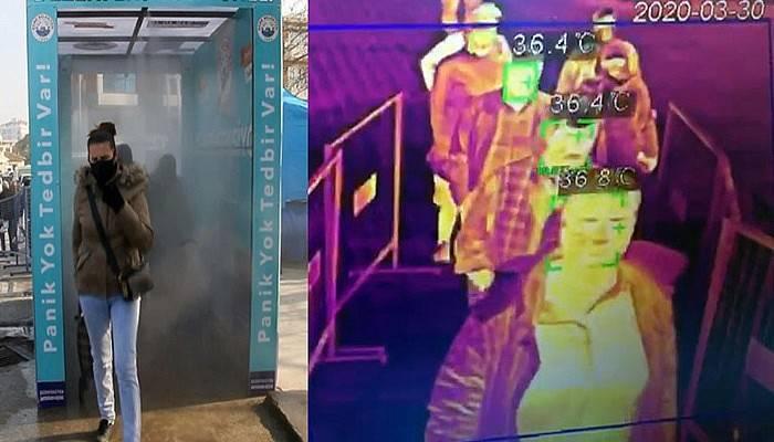 Ezine'de dezenfeksiyon tüneli ve termal kamera uygulaması