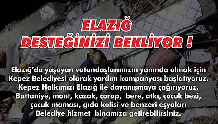 Kepez Belediyesinden Elazığ'a yardım kampanyası