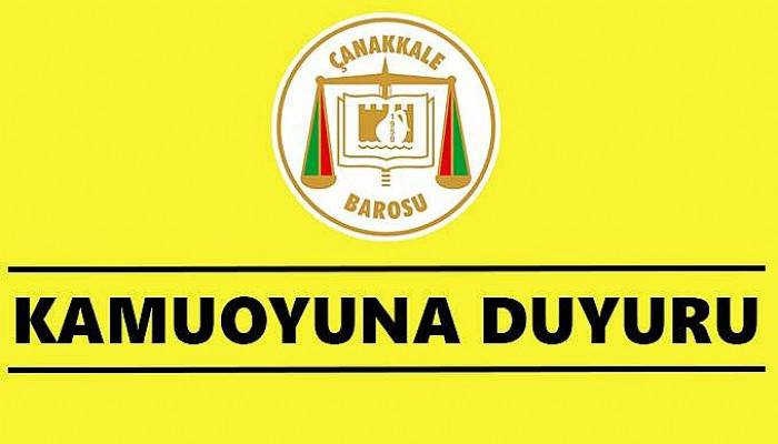 Çanakkale Barosu'ndan İstanbul seçimi açıklaması!
