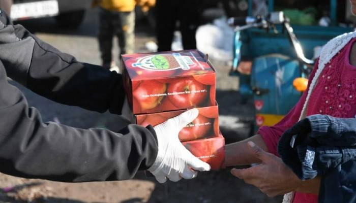 Bayramiç elması dağıtımları sürüyor