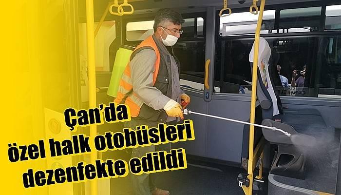 Çan'da özel halk otobüsleri dezenfekte edildi