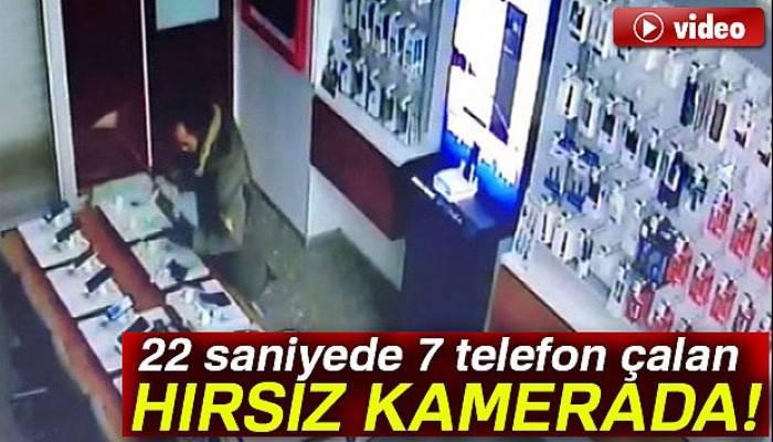 Hırsız 22 saniyede iş yerine 30 bin TL'lik telefon çaldı