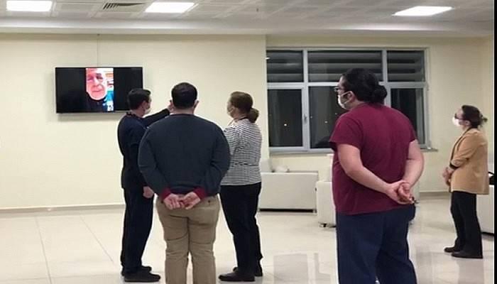 ÇOMÜ Rektörü Prof. Dr. Sedat Murat, İnteraktif Video Konferans Sistemiyle Hastane Çalışanlarına Seslendi