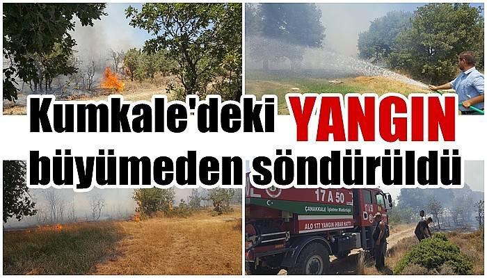 Kumkale'deki yangın büyümeden söndürüldü (VİDEO)