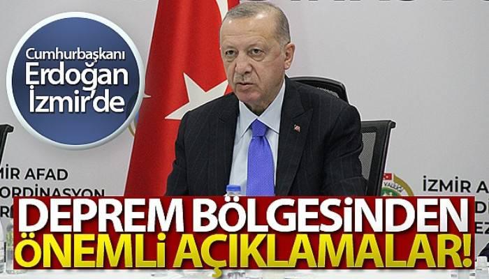 Cumhurbaşkanı Erdoğan'dan deprem bölgesinde önemli açıklamalar! (VİDEO)