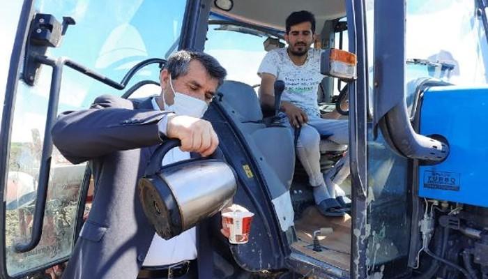 Muhtardan tarlada çalışanlara 'Çiftçiler Günü' ikramı