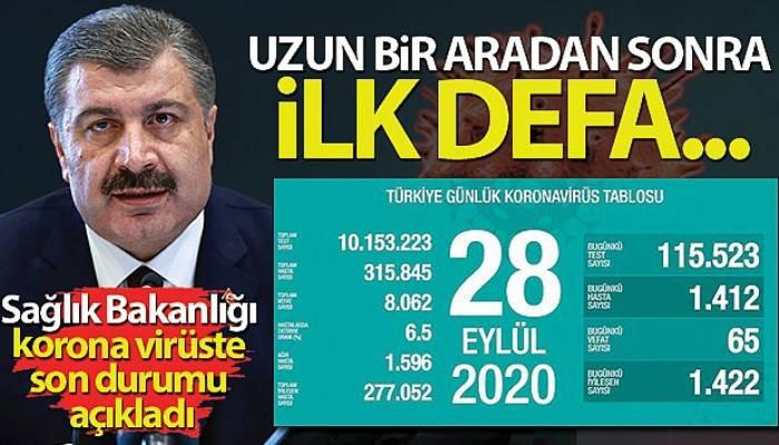 Türkiye'de son 24 saatte korona virüsten 65 kişi hayatını kaybetti
