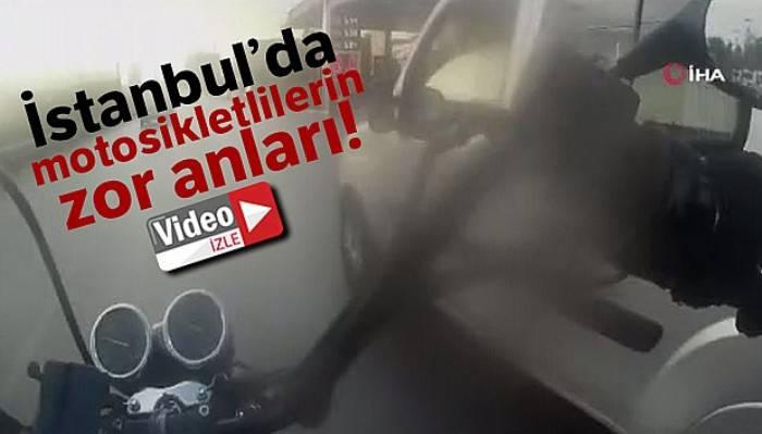 İstanbul'da motosikletliler, üzerilerine direksiyonu kıran sürücülere sert tepki gösterdi