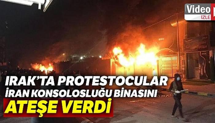 Irak'ta protestocular İran Konsolosluğu binasını ateşe verdi