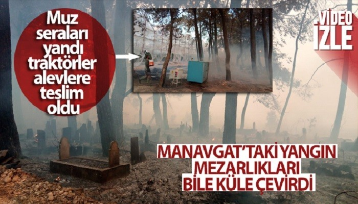 Manavgat'taki yangın mezarlıkları bile küle çevirdi (VİDEO)