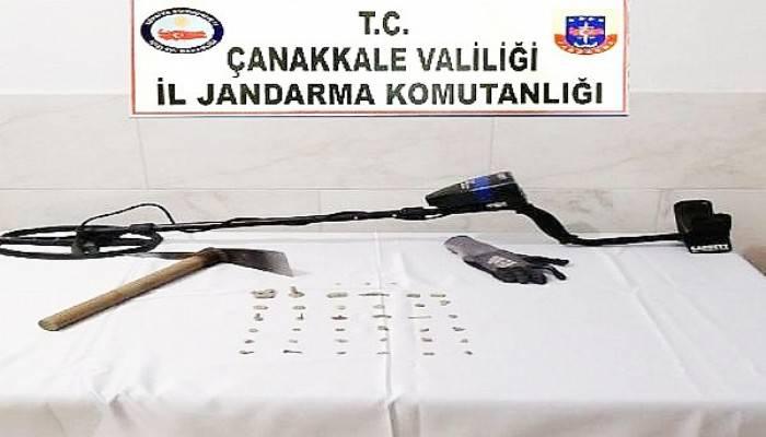 DEFİNECİ ÜZERİNDE 39 SİKKEYLE SUÇÜSTÜ YAKALANDI