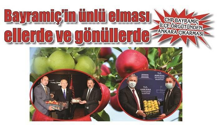 CHP BAYRAMİÇ İLÇE ÖRGÜTÜNDEN ANKARA ÇIKARMASI: Bayramiç'in ünlü elması ellerde ve gönüllerde