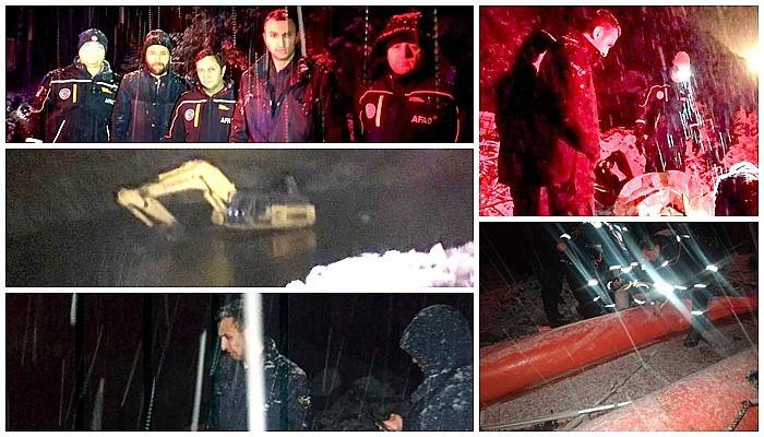 Gölette mahsur kalan işçi AFAD ekipleri tarafından kurtarıldı
