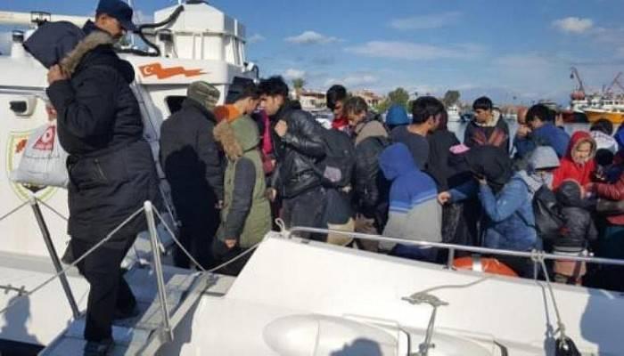 Çanakkale'de lastik botta 52 kaçak yakalandı