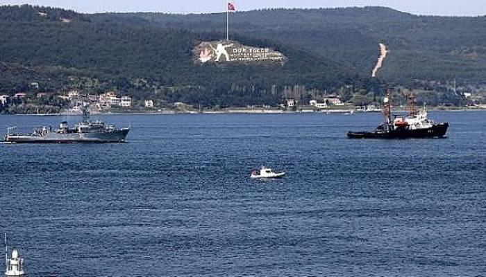 Arızalanan Rus mayın gemisi, römorkörle Çanakkale Boğazı'ndan geçirildi (VİDEO)