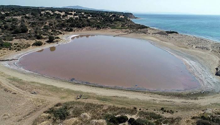 Kalp şeklindeki 'pembe göl' turizme kazandırılacak (VİDEO)