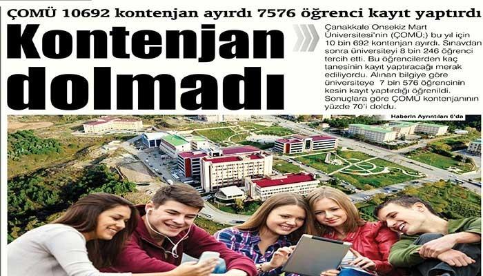 ÇOMÜ 10692 öğrenci istedi. 7576 öğrenci kayıt yaptırdı
