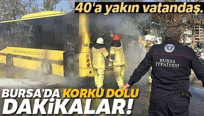 Bursa'da korku dolu dakikalar! Belediye otobüsü alev aldı, o anlar kameralara yansıdı
