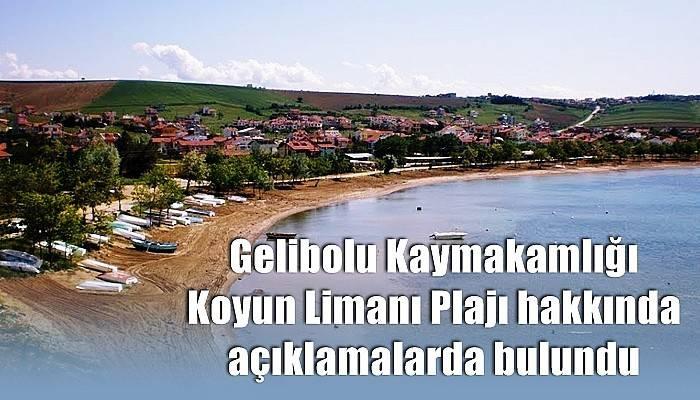 Gelibolu Kaymakamlığı Koyun Limanı Plajı hakkında açıklamalarda bulundu
