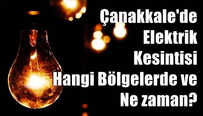 Çanakkale Merkez'de Elektrik Kesintisi!
