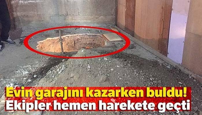 Evin garajını kazarken kalıntı buldu, polis ve arkeologlar harekete geçti