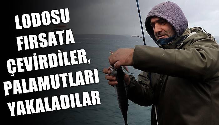Olta balıkçıları, lodosu fırsata çevirdi, sahile dolan palamutları avladı (VİDEO)