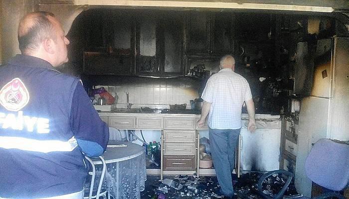 Cenaze evinde yangın