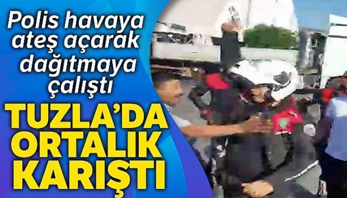 Tuzla'da polis ekipleri yaşanan arbedeyi önlemek için havaya ateş açtığı anlar kamerada
