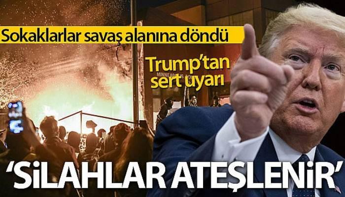 Trump'tan protestoculara sert uyarı: 'Yağma başladığında silahlar ateşlenir'