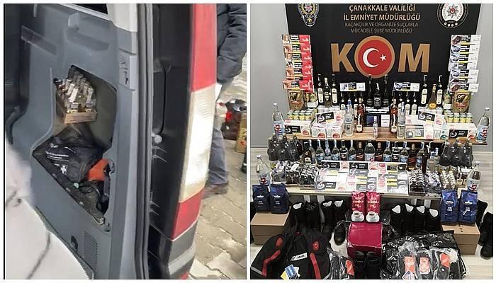 Yurt dışından Çanakkale'ye gelen 2 araçtan çok sayıda gümrük kaçağı ürün çıktı (VİDEO)