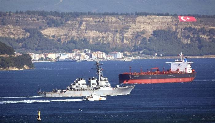 ABD savaş gemisi 'USS Carney' Çanakkale Boğazı'ndan geçti (VİDEO)