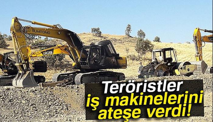 Teröristler Siirt'te iş makinelerini ateşe verdi