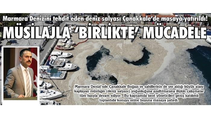 Marmara Denizini tehdit eden deniz salyası Çanakkale'de masaya yatırıldı! MÜSİLAJLA 'BİRLİKTE' MÜCADELE