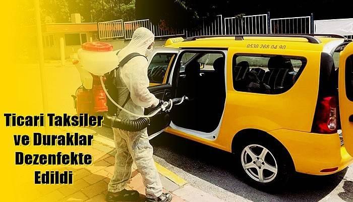 Ticari Taksiler ve Duraklar Dezenfekte Edildi