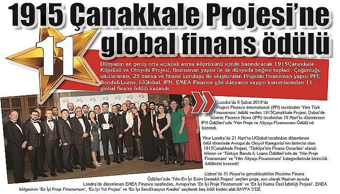 1915 Çanakkale Projesi'nde 11 Global Finans Ödülü