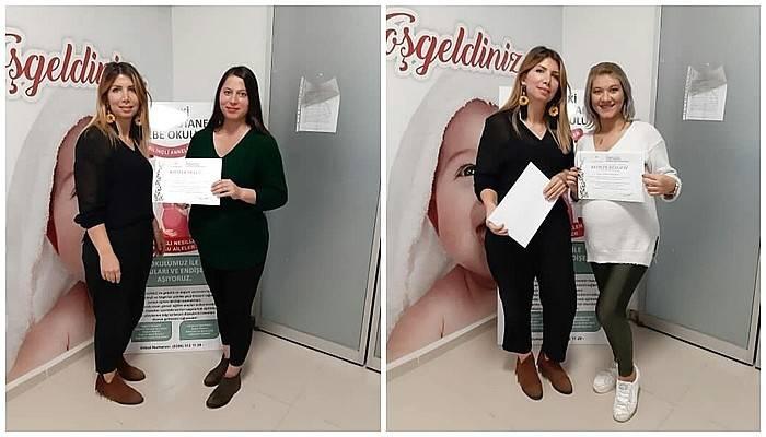 Lapseki Devlet Hastanesi Gebe Okulu mezunları belgelerini aldı
