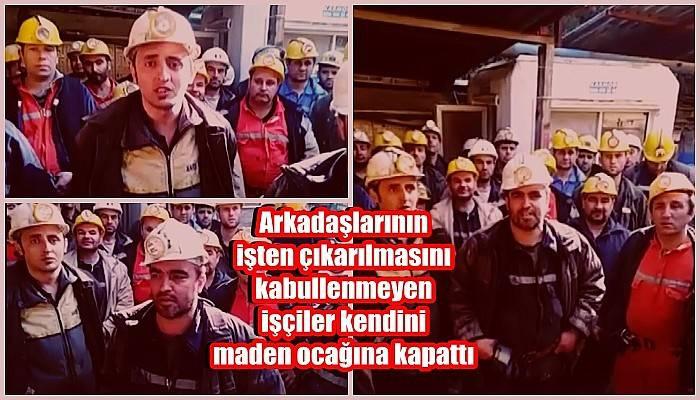 Arkadaşlarının işten çıkarılmasını kabullenmeyen işçiler kendini maden ocağına kapattı (VİDEO)