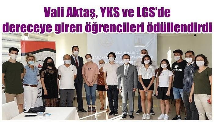 Vali Aktaş, YKS ve LGS'de dereceye giren öğrencileri ödüllendirdi