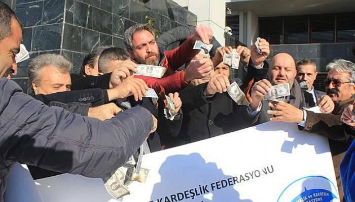 Merkez Bankası önünde Dolar eylemi