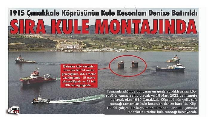 1915 Çanakkale Köprüsünün Kule Kesonları Denize Batırıldı