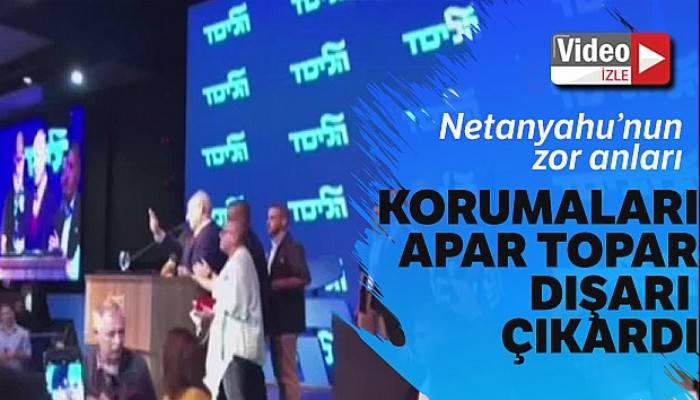 Siren seslerini duyan Netanyahu konuşmasını keserek bölgeden ayrıldı