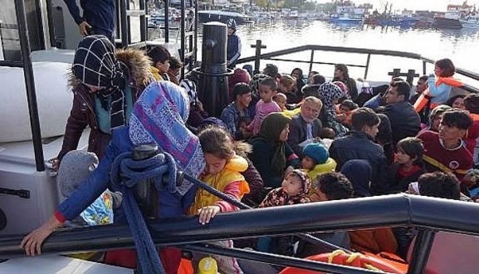 Ayvacık'ta 195 kaçak göçmen yakalandı (VİDEO)