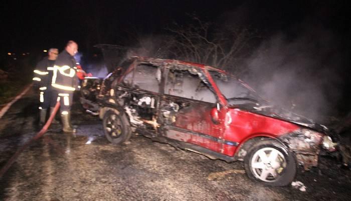 Çan'da takla atan araç alev aldı 1 ağır yaralı (VİDEO)