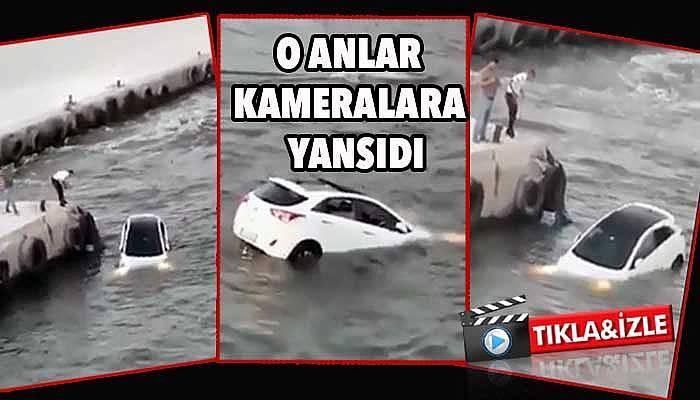 Çanakkale'de otomobil denize düştü! (VİDEO)