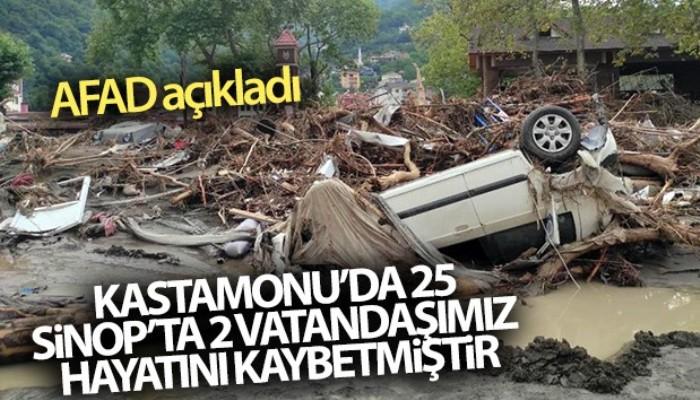 AFAD açıkladı! 'Kastamonu'da 25, Sinop'ta 2 vatandaşımız hayatını kaybetmiştir'