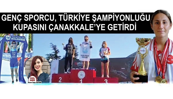 Genç sporcu, Türkiye Şampiyonluğu kupasını Çanakkale'ye getirdi; TRİATLONA DESTEK ÇAĞRISI YAPTI