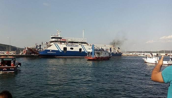 Çanakkale'de feribotta korkutan yangın(VİDEO)
