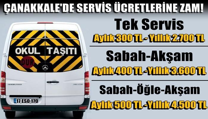 ÇANAKKALE'DE OKUL SERVİS ÜCRETLERİNE ZAM GELDİ