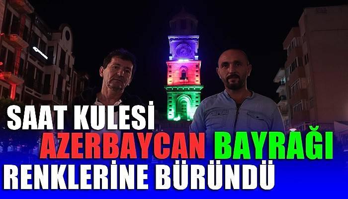 Çanakkale'de Saat Kulesi, Azerbaycan bayrağı renklerine büründü (VİDEO)