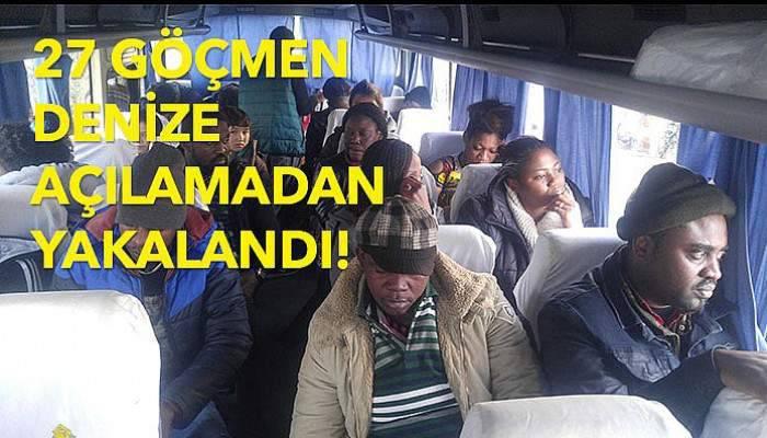 27 göçmen denize açılamadan yakalandı!